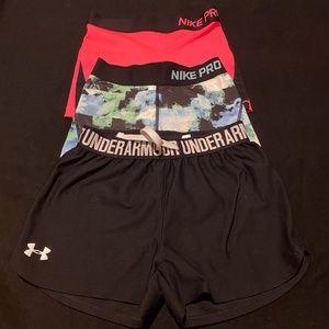 NIKE PRO Spanx & UA Running Shorts Youth Med EUC